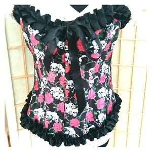 Tops - Day of the Dead skulls & roses bustier  corset top